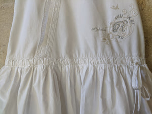 Sparkly Bird, Lace, Dropped Ruched Waitband, White Summer Dress 7-8 Years