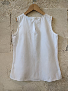 White Linen French Preloved Tunic with Sparkly Beads Hem 12 Years