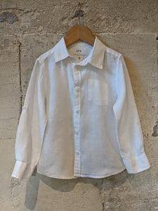 French Branad CFK Kids Preloved White Linen Shirt 3-4 Years
