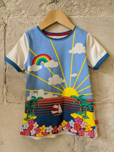 Little Bird by Joules Oliver Retro Cool Tropical Rainbow Bright Seaside Beach TShirt 3-4 Years