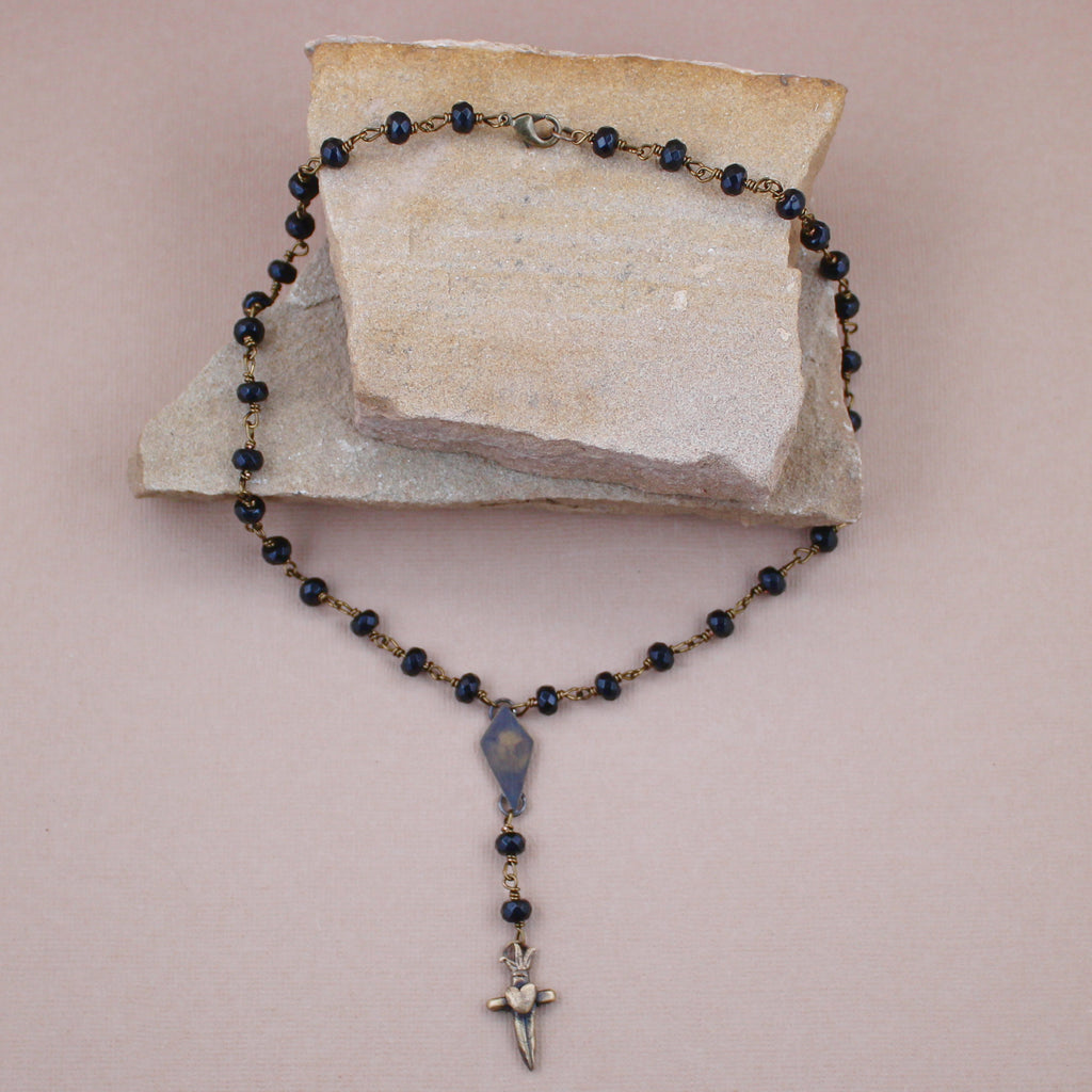 Onyx Star and Dagger Rosary Necklace