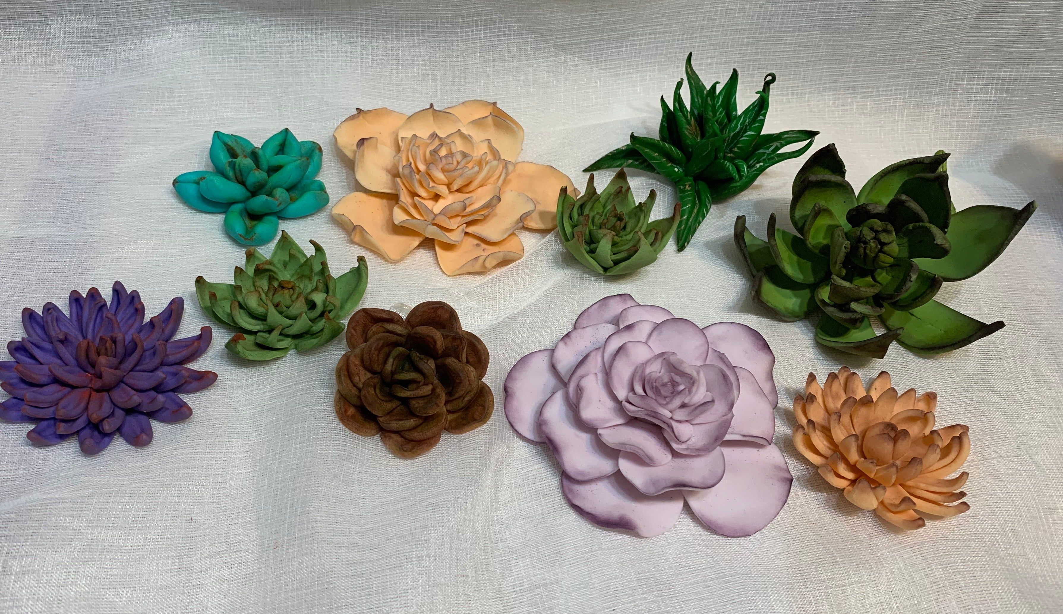 Edible Succulents Fondant Toppers Decorations