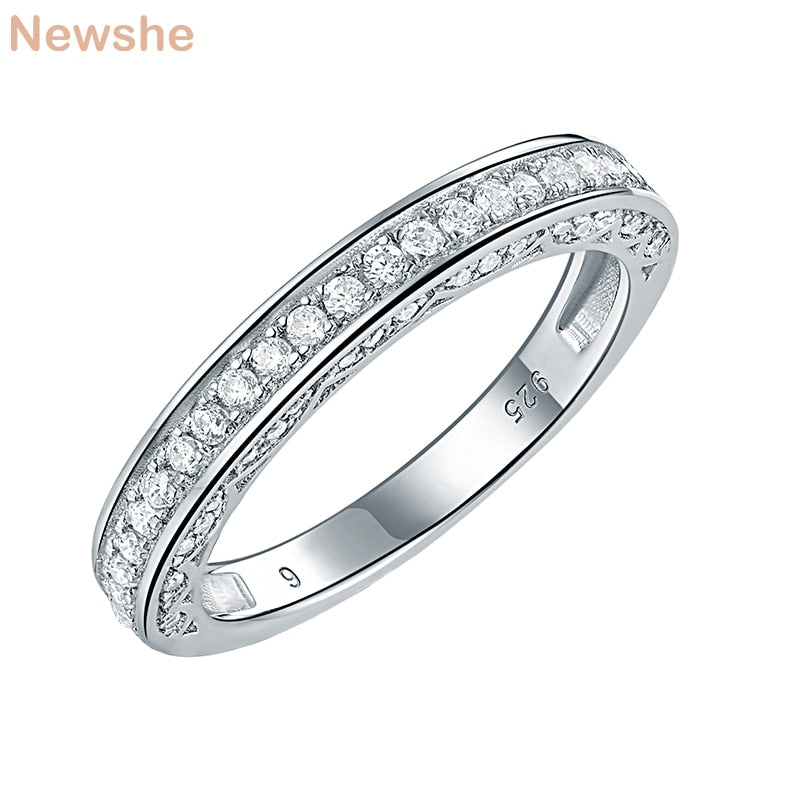 925 Sterling Silver Straight Stackable Wedding Ring Engagement Band For Women Trendy Jewelry Gifts