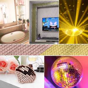 Self-Adhesive Mini Square Mirrors Mosaic Tiles for DIY Handmade Crafts,Ball,Party Home Decoration Real Glass Mirror Wall Sticker