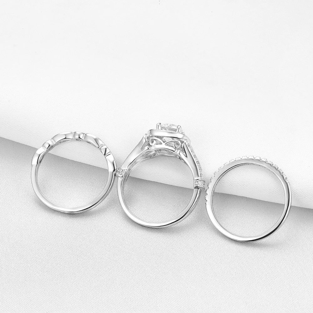 3Pcs 925 Sterling Silver Wedding Rings For Women Round AAA Zircons Engagement Rings Bridal Set With Two Bands Gifts