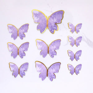 10pcs Cake Decoration Purple Royal Butterflies Hand Painted Style c Butterflies for Girl`s Birthday