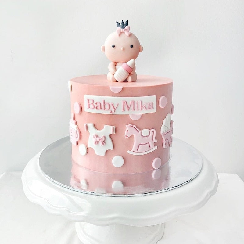 Cute Newborn Happy Birthday Cake Topper Pink Feeding Bottle Birthday Cake Topper for Baby Shower Birhday Party Cake Decorations