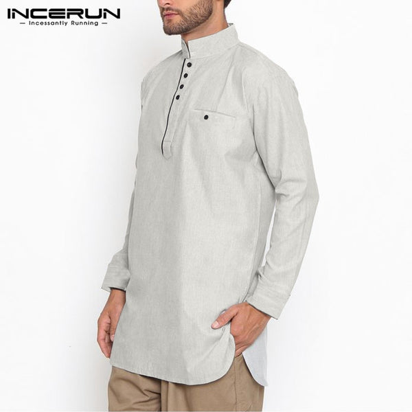 Casual Stand Collar Solid Kurta
