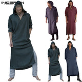 Men Islamic Arab Muslim Kaftan Hooded Plus Size