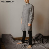 Men Indian Kurta Suit Striped Long Sleeve