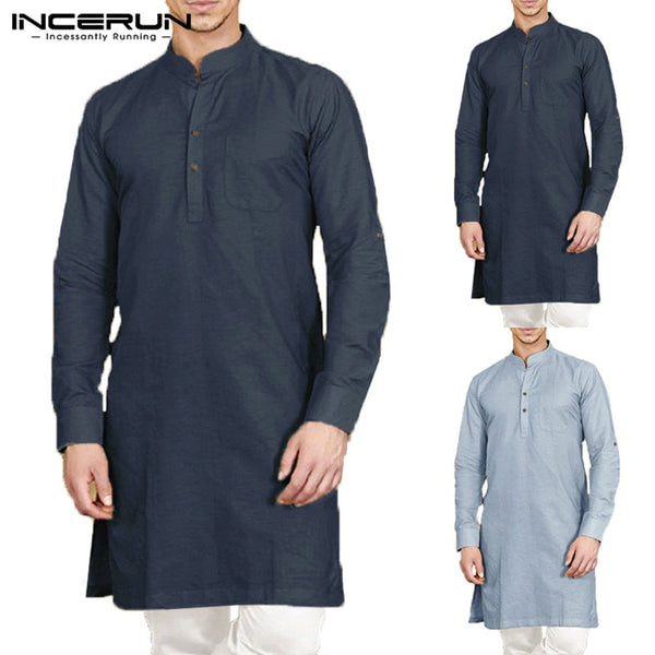 Indian Style Cotton Stand Collar Solid Color Kurta