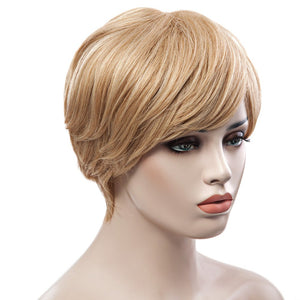 Trendy Fluffy Side Bang Elegant Charming Short Straight Human Hair Women's Capless Wig