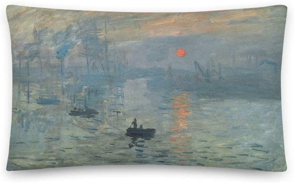 Vintage Poster - Claude Monet's Impression, Soleil Levant 0038 - Rectangular Pillow Case w/Stuffing