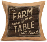 Smilyard Vintage Rustic Farmhouse Pillow Cover Farm to Table Eat Local Quotes Decorative Throw Pillowcases Square Home Cushion Cover 18x18 Inch (VQ01)