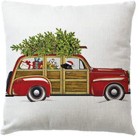 "7COLORROOM Set of 4 Christmas Decorations Pillow Covers Christmas Tree/Vintage Red Truck/Animals Pattern Cushion Cover Merry Christmas Home Decorative Pillowcases 18""x 18"" (Christmas with Dog Cat)"