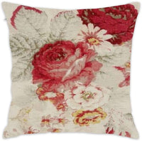 "Hsdfnmnsv French Country Floral Pillow Sham for Sofa Throw Pillow Covers Decorative Outdoor Cushion Covers Canvas Accent Pillow Cases 18""X18"""
