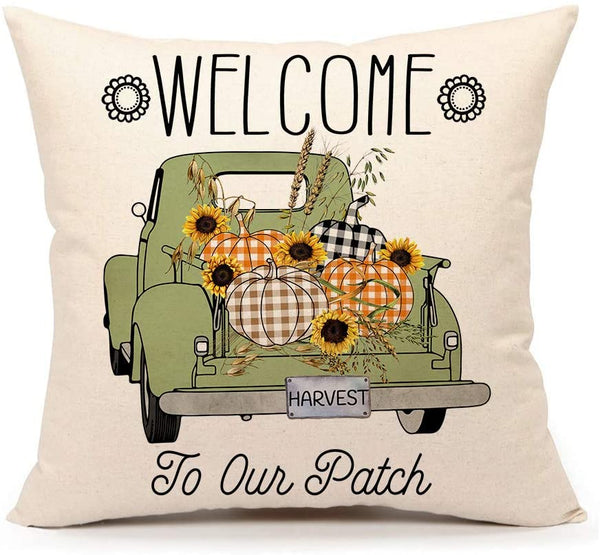 4TH Emotion Pumpkin Patch Harvest Truck Fall Rustic Throw Pillow Cover Farmhouse Thanksgiving Cushion Case for Sofa Couch 18x18 Inches Cotton Linen