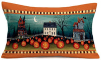 "Hopyeer Farm Red Truck with Fall Harvest Decor Pillow Case Cotton Linen Fresh&Vegetable with Vintage Wood Background Pillow Case Waist Lumbar for Home Sofa Couch 12""x20"" (FR-Truck)"