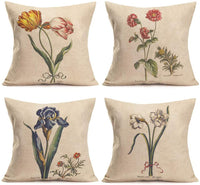 Smilyard Set of 4 Vintage Farmhouse Decorative Throw Pillow Covers Leaf Floral Tulip/Daffodil/Irises Couch Throw Pillowcase Cotton Linen Cushion Cover for Garden Home18x18 Inch (Spring Floral 4PS)