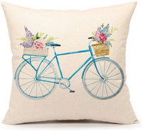 4TH Emotion Blue Bicycle Throw Pillow Cover Vintage Spring Home Decorative Cushion Case 18 x 18 Inch Cotton Linen for Sofa (Watercolor Retro Flower)