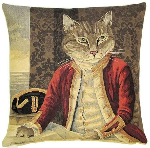 Authentic Certified Jacquard Cotton Woven Tapestry Made in Europe Decorative Throw Pillow Covers / Pillow Cases / Cushion Covers Standard Size 18X18 inches Vintage Cat Captain Cook by Susan Herbert