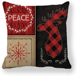 ULOVE LOVE YOURSELF Christmas Decor Deer Pillow Covers with Red/Black Buffalo Check Plaid Joy&Peace Winter Holiday Farmhouse Decorative Cushion Cover 18x18 Inch Vintage Pillowcase