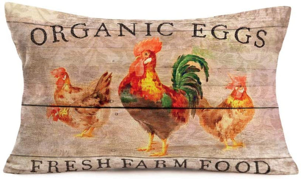 12 X 20 Inches Vintage Wood Grain with Poultry Rooster Decorative Throw Pillow Covers Farmhouse Organic Eggs Fresh Farm Food Cotton Linen Throw Waist Lumbar Rectangle Cushion Covers Home Sofa Decor(R)