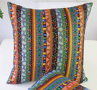 TAOSON Green Stripe Bohemian Style Antique Cotton Blend Linen Sofa Throw Pillowcase Cushion Cover Pillow Cover with Hidden Zipper Closure Only Cover No Insert 18x18 Inch 45x45cm