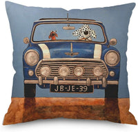 Throw Pillow Cover Decorative Durable Cushion Cover 18 x 18 Cute Spotty Dog Drives a green Vintage Jeep Dogs in Back Pillow Case Hidden Zipper Home Decor Spring Summer Sofa Couch Bedroom Living Room