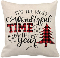 "Set of 4 Christmas Pillow Covers Vintage Snowman Christmas Buffalo Plaid Deer Cushion Cover Farmhouse Cotton Linen Home Decorative Pillowcases 18"" x 18"" Sofas Beds Chairs (Vintage Snowman 4P)"