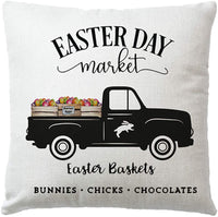 7COLORROOM Black Easter Bunny Pillow Covers Rabbit Flowers with Colorful Eggs Vintage Truck Pattern Cushion Cover Spring Cotton Linen Set of 2 Home Decorative Throw Pillow Case (Easter Bunny)