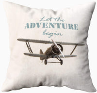 HerysTa Throw Pillow Covers, Standard Pillow Cases 16X16 Inches Invisible Zipper Christmas Let The Adventures Begin Motivational Quote Vintage Retro Airplane Logo Typographic Soft Pillow Case