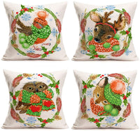 Fukeen Set of 4 Vintage Bird Nest Pillow Cases Egg Leaves Branch Decorative Throw Pillows Cushion Cover Cotton Linen Love Home Bedroom Decor Standard 18x18 Inches Pillow Protectors, Blessed