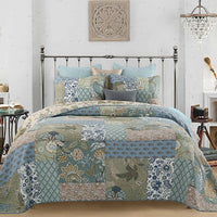YAYIDAY Cotton Patchwork Bedspread Quilt Sets Queen Size - Reversible Breathable Comforter Botanic Floral Quilted Coverlet with Pillow Shams, Bohemian Pattern Green