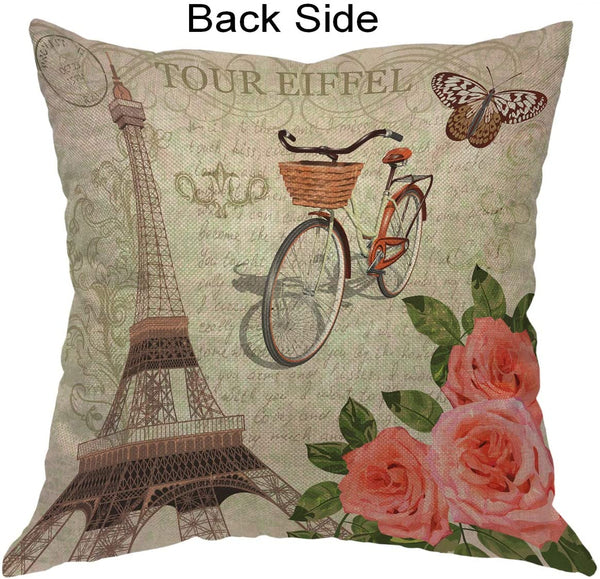 Moslion Paris Pillows Vintage France Eiffel Tower with Bicycle Butterfly Leaf Rose Flower Throw Pillow Cover Decorative Pillow Case Square Cushion Accent Cotton Linen Home 18x18 Inch