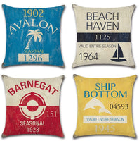 Vintage Series Throw Pillow Case U-Love Beach Cushion Cover for 18 X 18 Inch Nautical Pillow Inserts,4 Pack Coastal Pillow Covers