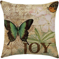 "WFLOSUNVE Retro Butterfly Decorative Throw Pillow Covers 18""x 18"" Set of 4, Faux Linen Farmhouse Vintage Style Pillow Case Cushion Cover for Bed and Couch(Hope, Espérer, Faith, Joy)"