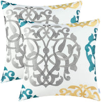 CaliTime Pack of 2 Cotton Throw Pillow Cases Covers for Bed Couch Sofa Vintage Compass Geometric Floral Embroidered 18 X 18 Inches Turquoise Gold Gray