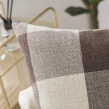 Woaboy Pack of 2 Plaids Throw Pillow Covers Decorative Pillowcases Solid Soft Cotton Linen Cushion Covers Square Cojines for Couch Living Room Sofa Bedroom Car 16x16inch 40x40cm Brown and White