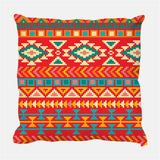 geinne 4pack Bright Colors Ethnic Style Throw Pillow Case Vintage Decorative Square Cotton Linen Cushion Cover for 18 X 18 Inch Pillow Inserts (Ethnic1)