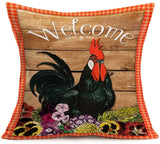 Smilyard Farmhouse Pillow Covers Animal Rooster Painting Throw Pillow Case Quotes Rise and Shine Cushion Cover Home Decor for Sofa Couch Bed Car 18x18 Inch (Retro Rooster 01)