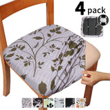 Gute Chair Seat Covers, Stretch Printed Chair Covers with Elastic Ties and Button, Removable Washable Dining Upholstered Chair Protector Seat Cushion Slipcovers for Dining Room, Office(Grey)