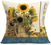 "Throw Pillow Covers Cotton Linen Vintage Sunflower Pillowcase Cushion Cover Square Yellow Flower Floral with Butterflies Decorative Zippered Cover for Sofa Bed Couch 18""x18"" Set of 4 (Blue Sunflower)"