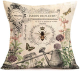 "YANGYULU Vintage Board Plank with Watercolor Butterfly Pillow Covers Cotton Linen Burlap Decorative Throw Pillow Case Cushion Cover for Home Sofa Bedding 18""x18""(Wooden African Butterfly)"