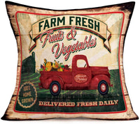 Aremazing Rustic Farmhouse Throw Pillow Covers Vintage Sunflower Red Truck Decorative Cushion Cover Cotton Linen Pillow Case Spring Summer Farm Decor 18x18 Inch, Retro Wood Background (Sunflower Farm)