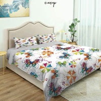 Homenon Modern Quilt Cover Bedding Set Victorian Vintage Ancient Royal Times Inspired Floral Leaves Swirls Cotton Quilt Cover and 2 Pillowcases Bedding 3 Piece Duvet Cover Set (Queen)