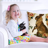 "Fjfz Easter Farmhouse Decorative Throw Pillow Cover Easter Bunny Rabbit Floral Sign Shabby Chic Cottage Decoration Vintage Spring Home Décor Cotton Linen Cushion Case for Sofa Couch, 18"" x 18"""
