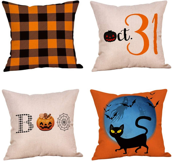 4 Pack Vintage Farmhouse Buffalo Check Plaids Halloween Throw Pillow Covers,Pumpkin,Bats,Black Cat,Spider Web,Boo Cushion Case Linen 18x18 Inch Indoor Outdoor Halloween Party Decor(Happy Halloween)