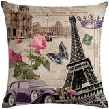 7COLORROOM 4 Pack Vintage Eiffel Tower Throw Pillow Covers Flower with Butterfly&Birds Cushion Cover for Couch Sofa Bed Home Decor, Square Cotton Linen Pillowcases 18 X 18 Inches (Tower)