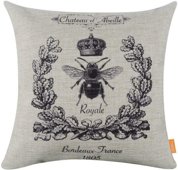 LINKWELL 4545cm Black Queen Bee Crown Burlap Cushion Covers Pillow Case